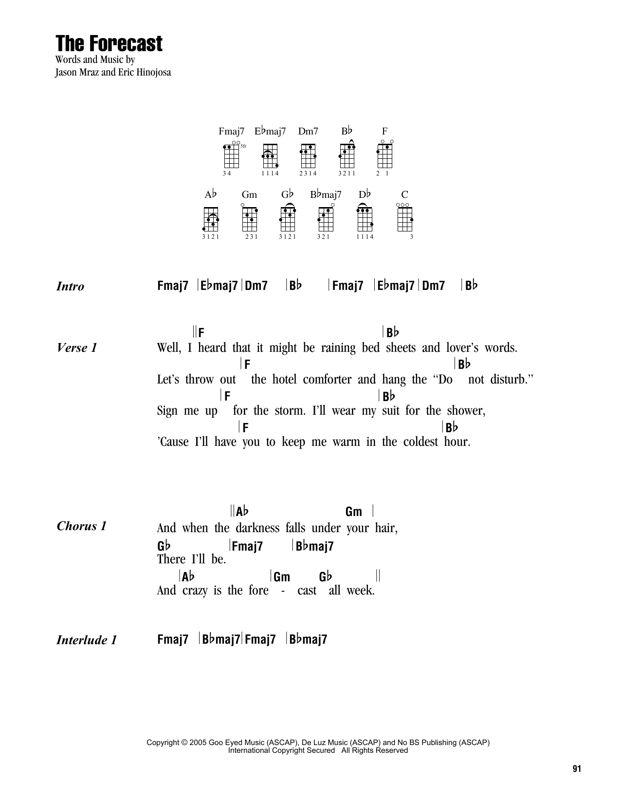 Tablature guitare The Forecast de Jason Mraz - Ukulele (strumming patterns)