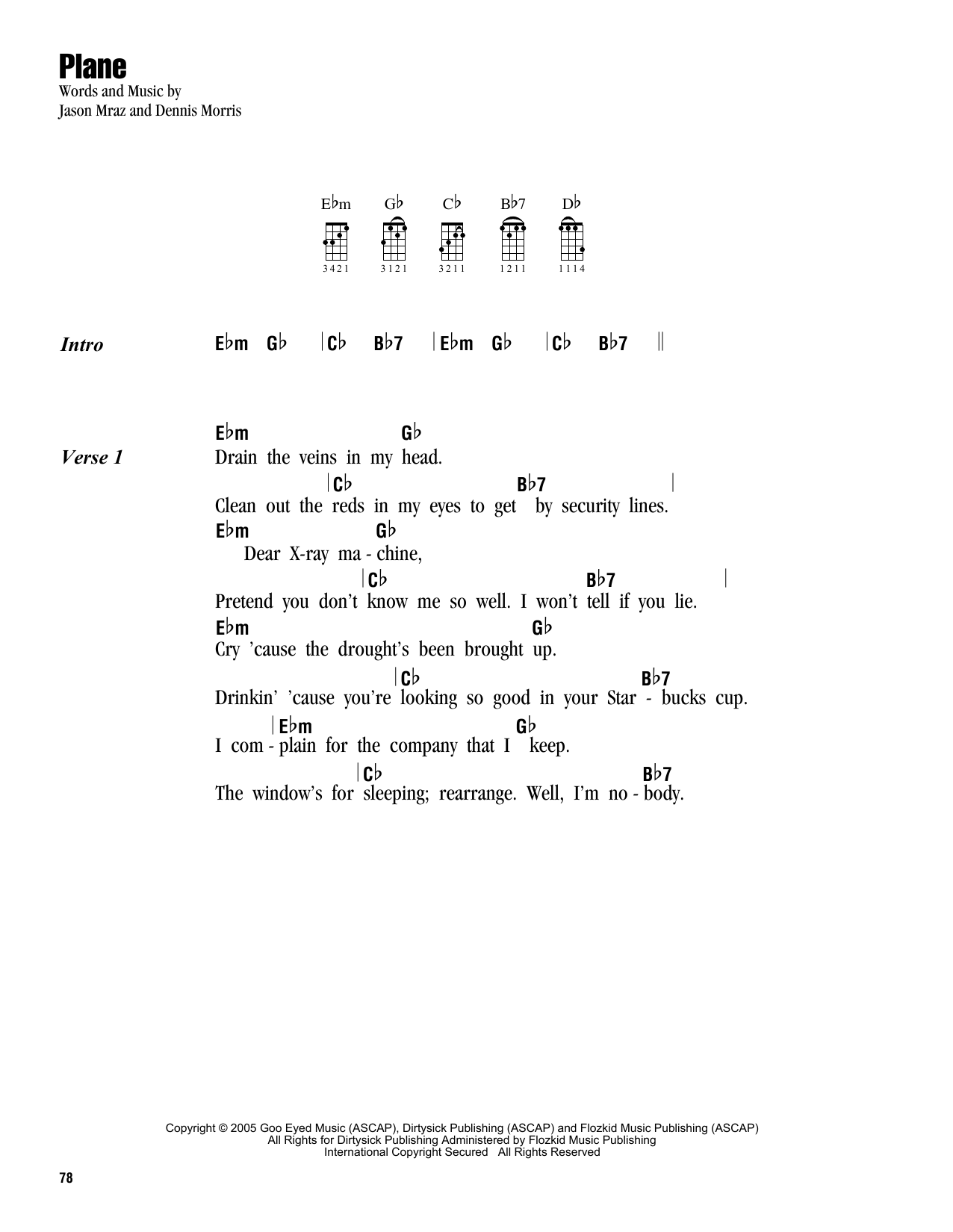 Tablature guitare Plane de Jason Mraz - Ukulele (strumming patterns)