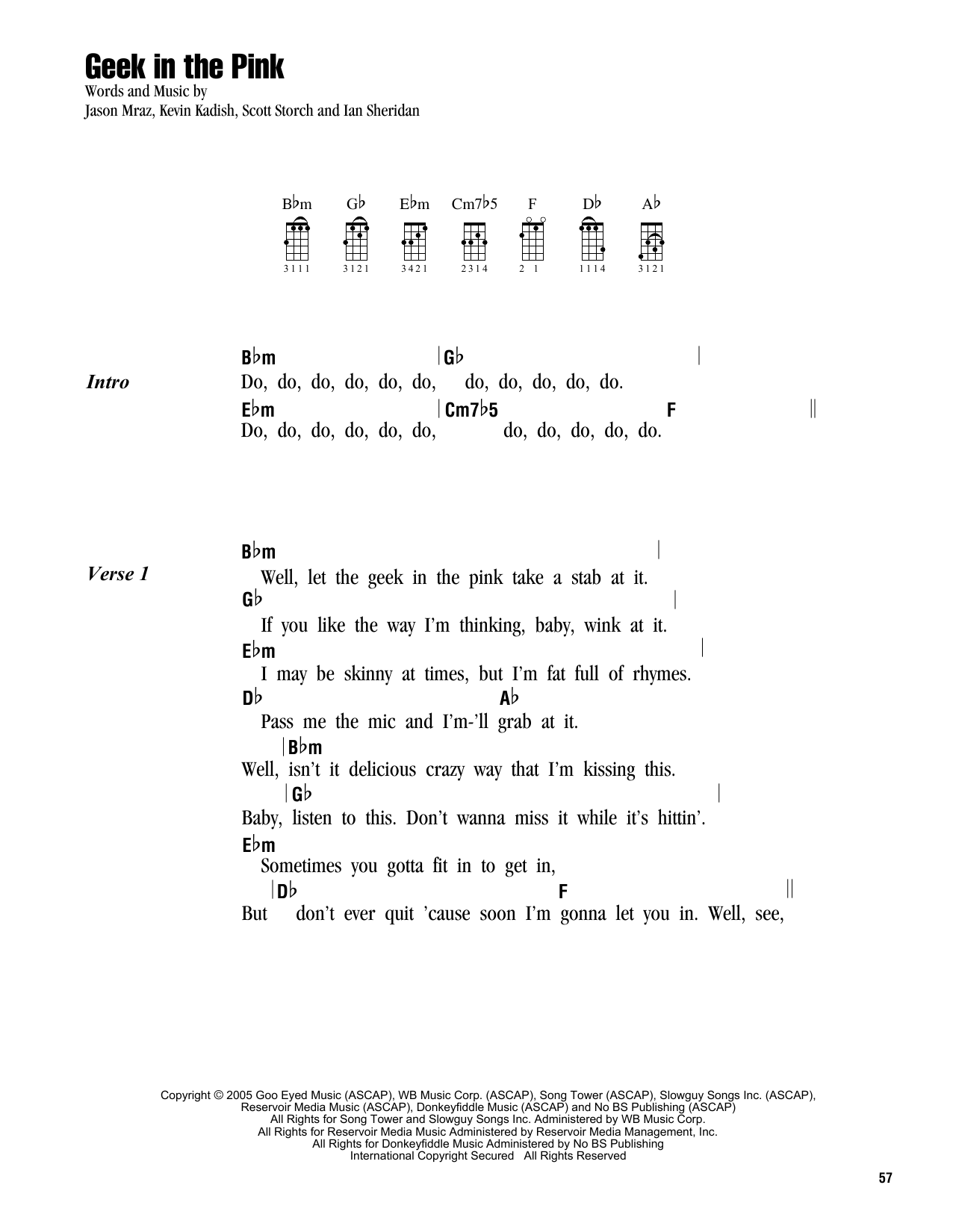 Tablature guitare Geek In The Pink de Jason Mraz - Ukulele (strumming patterns)