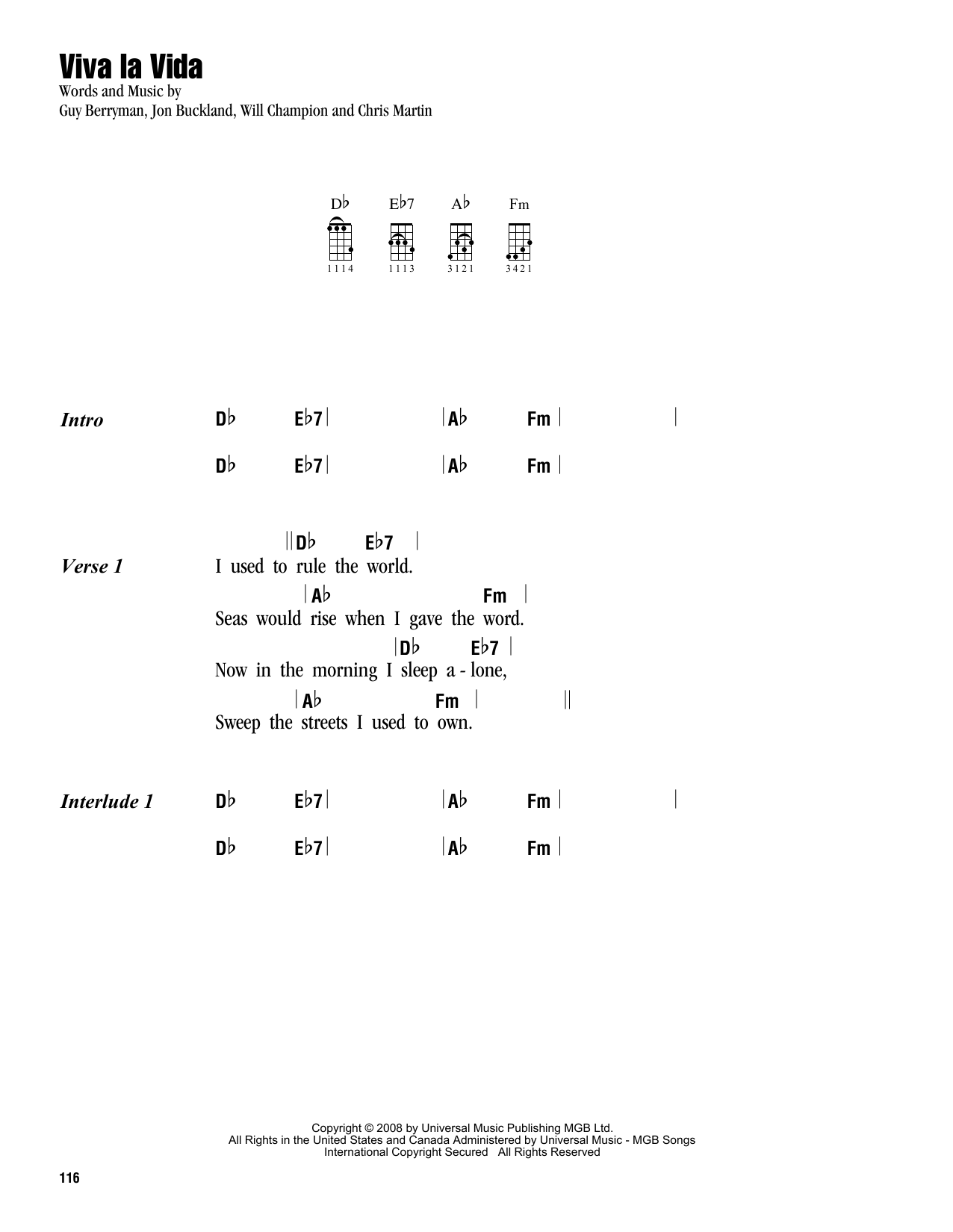 Tablature guitare Viva La Vida de Coldplay - Ukulele (strumming patterns)