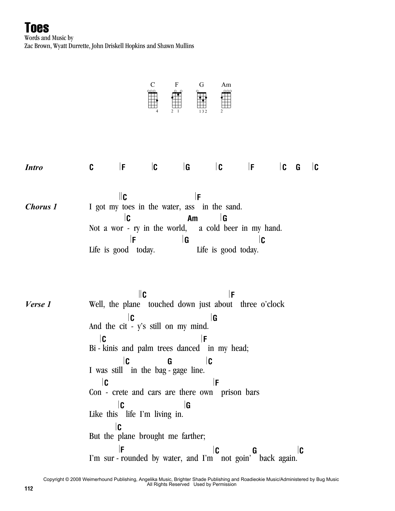 Tablature guitare Toes de Zac Brown Band - Ukulele (strumming patterns)