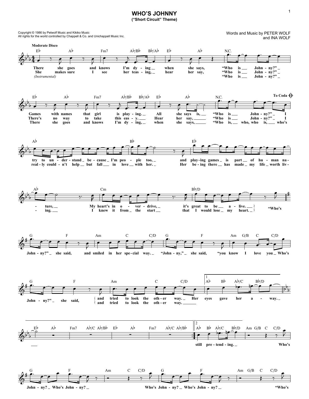 """Who's Johnny (""""Short Circuit"""" Theme) (Lead Sheet / Fake Book)"""