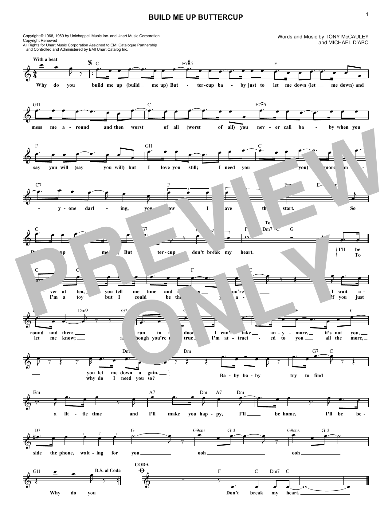 Build Me Up, Buttercup (Lead Sheet / Fake Book)
