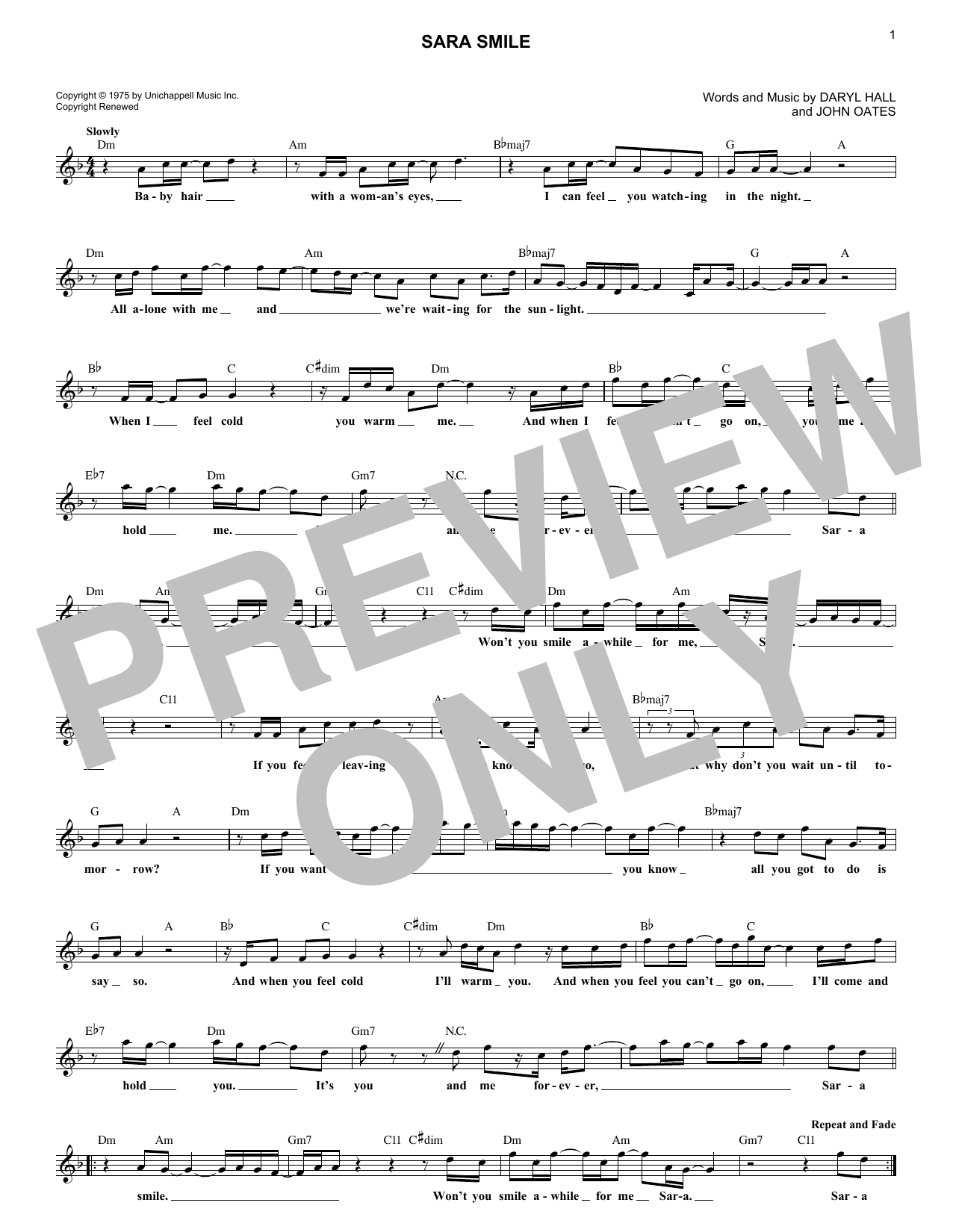 Sara Smile Sheet Music
