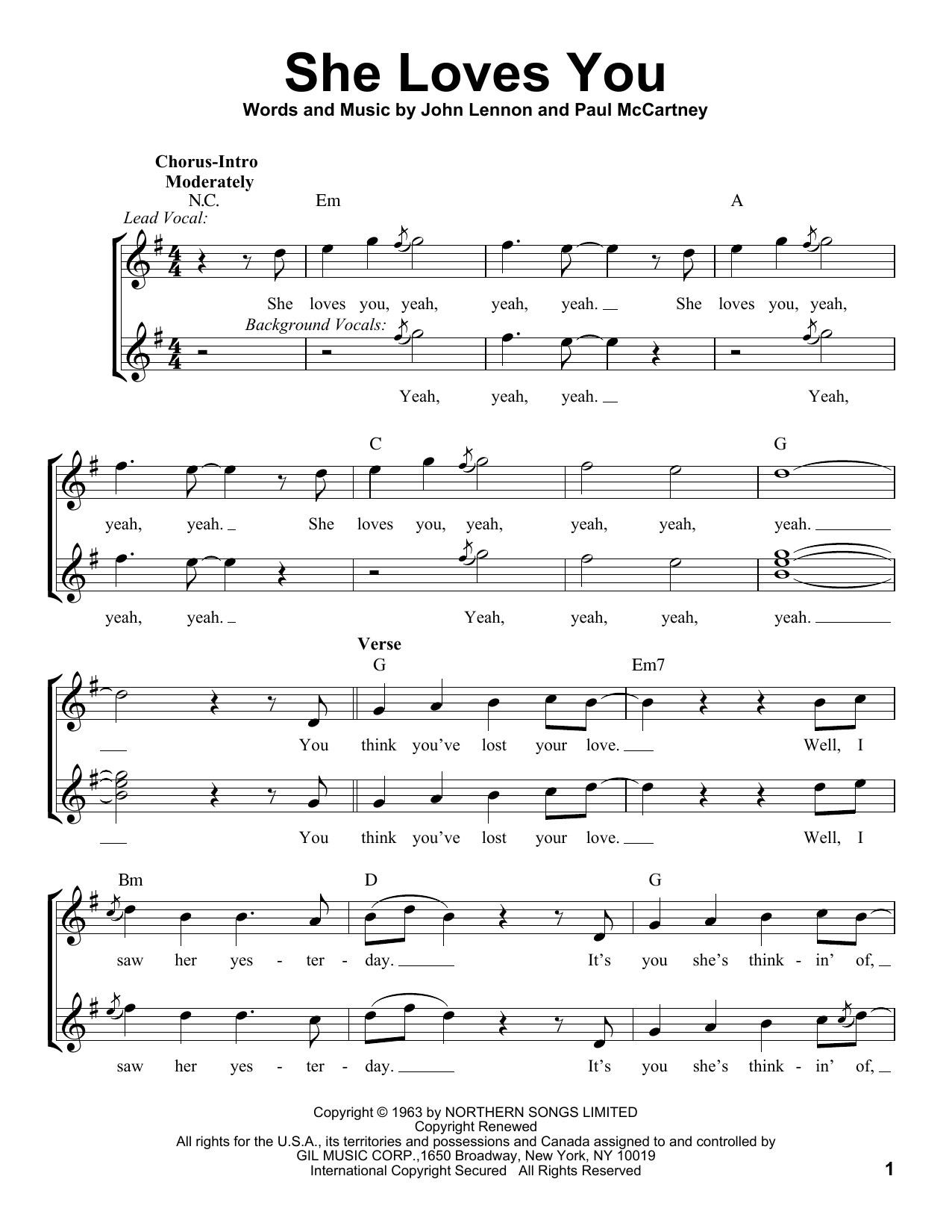She Loves You Pro Vocal Print Sheet Music Now