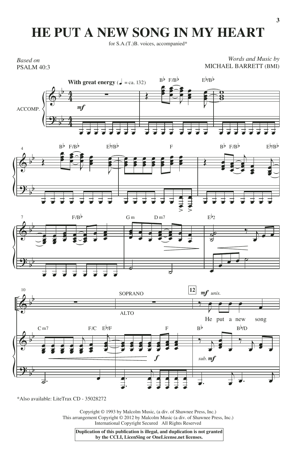 He Put A New Song In My Heart Sheet Music