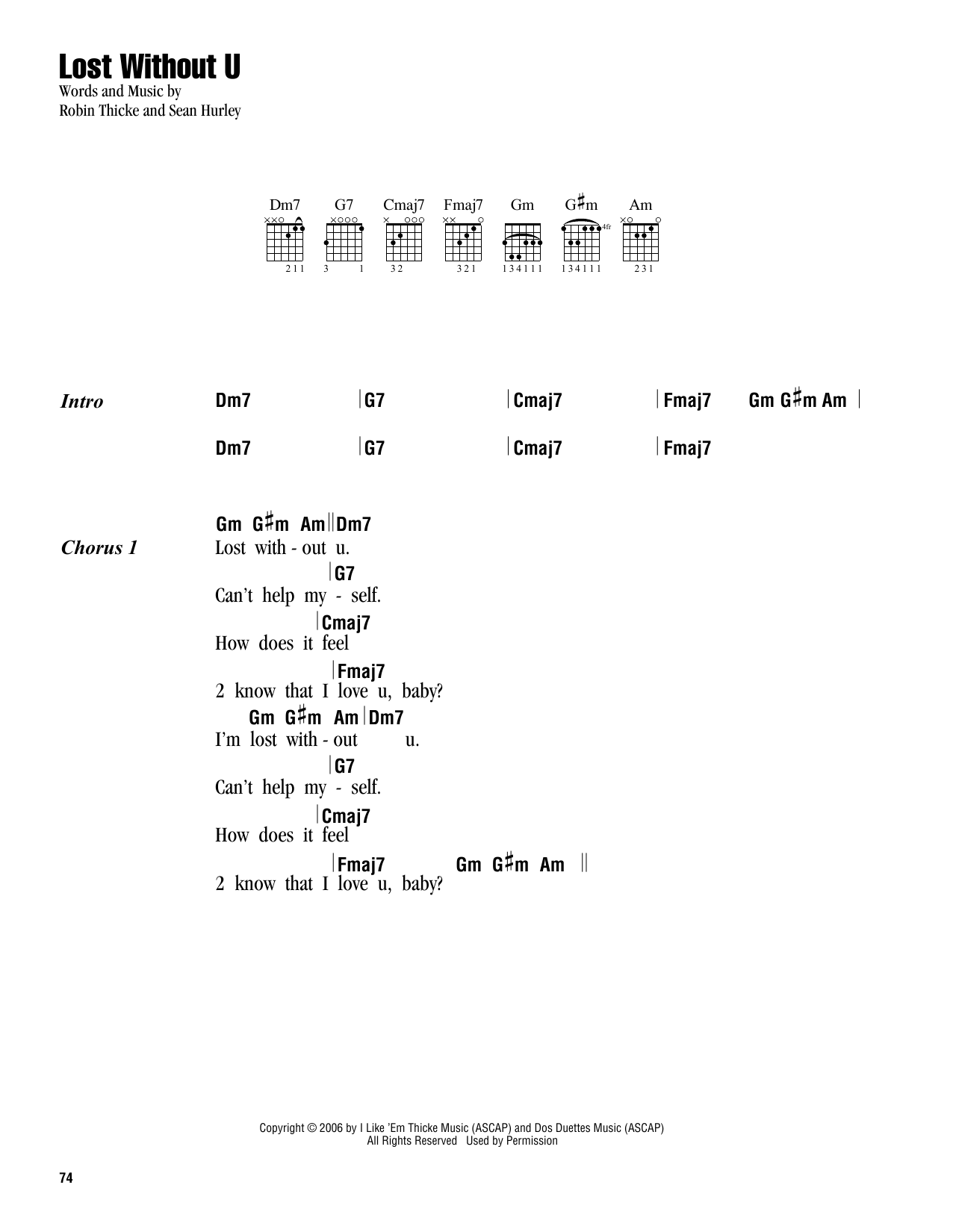 Lost without u sheet music by robin thicke lyrics chords 163242 lost without u sheet music hexwebz Image collections