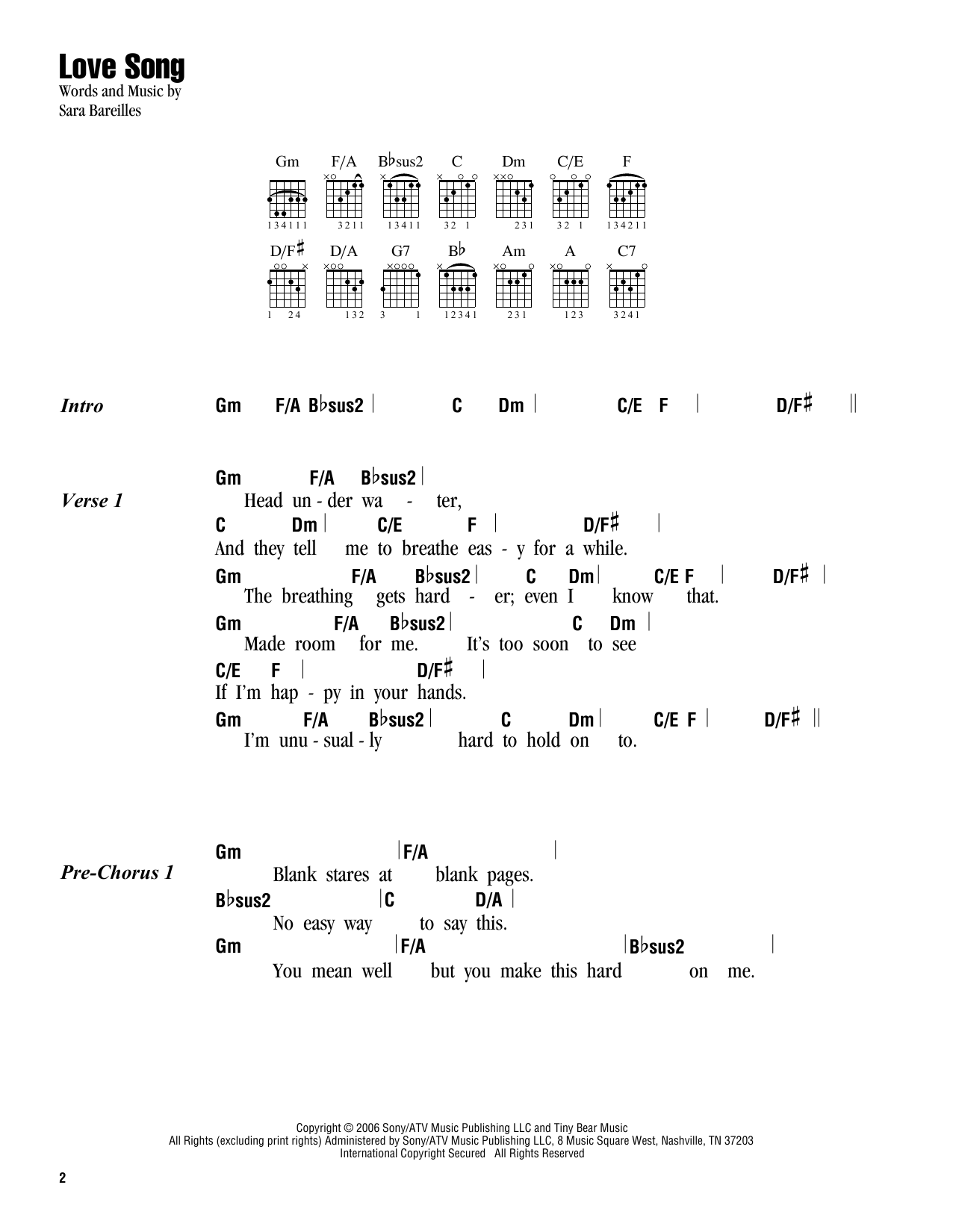Love Song Sheet Music Sara Bareilles Lyrics Chords