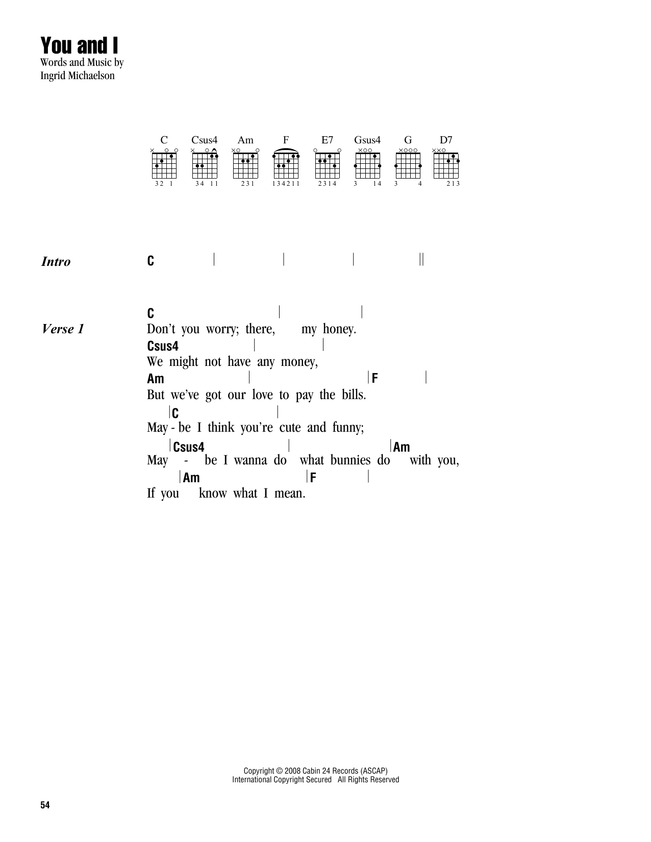 You And I (Guitar Chords/Lyrics)