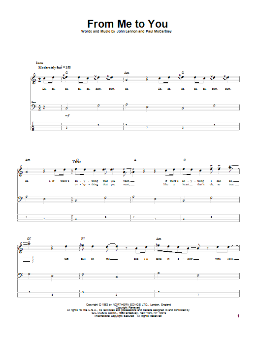 From Me To You (Bass Guitar Tab)
