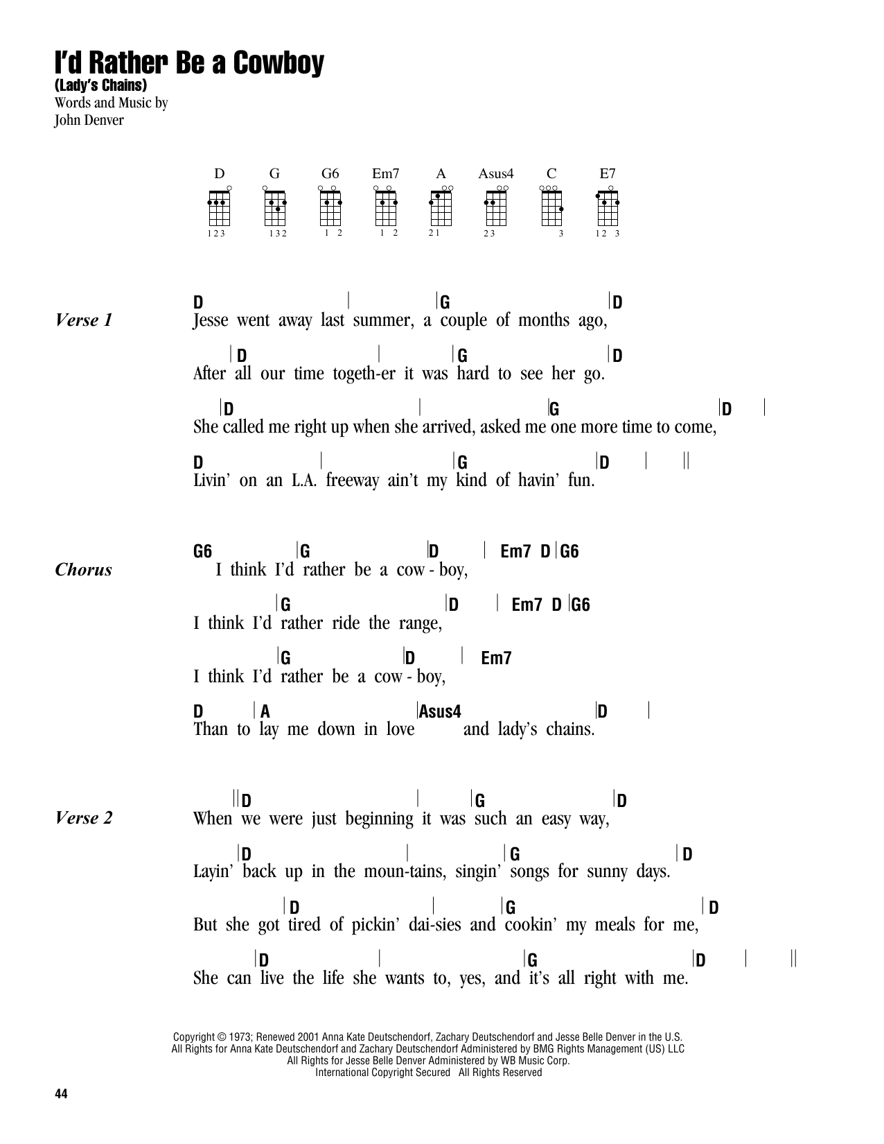 Tablature guitare I'd Rather Be A Cowboy (Lady's Chains) de John Denver - Ukulele (strumming patterns)