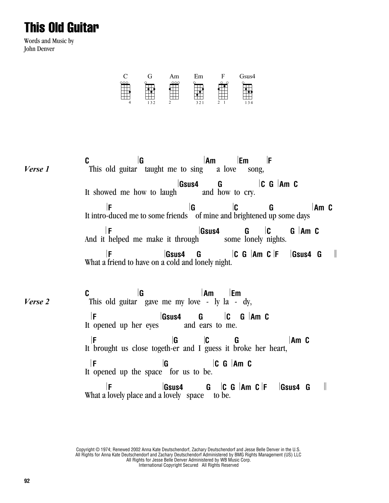 Tablature guitare This Old Guitar de John Denver - Ukulele (strumming patterns)