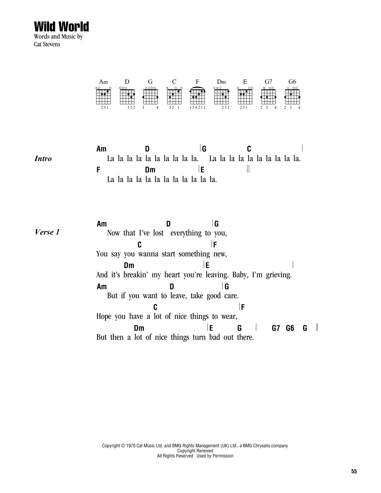 Wild World Sheet Music Cat Stevens Lyrics Chords