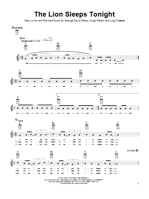 Tablature guitare The Lion Sleeps Tonight de Tokens - Ukulele
