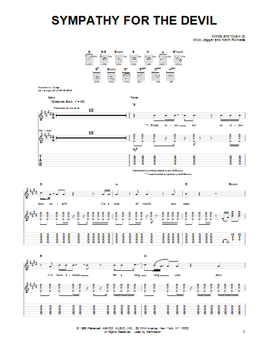 Sympathy For The Devil Sheet Music