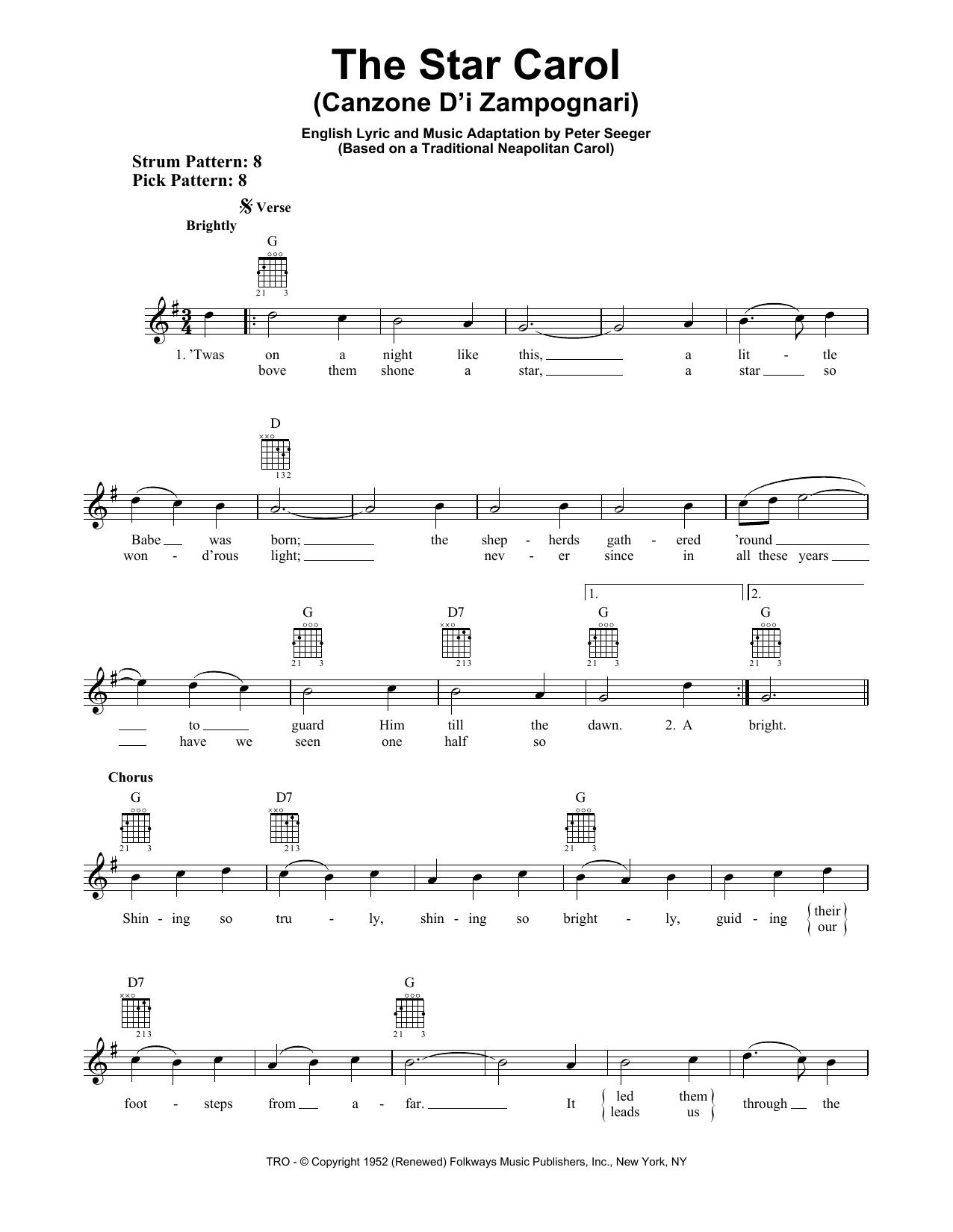 The Star Carol (Canzone D'i Zampognari) (Easy Guitar)