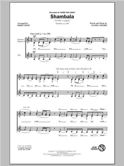 Shambala (arr. Kirby Shaw) Sheet Music