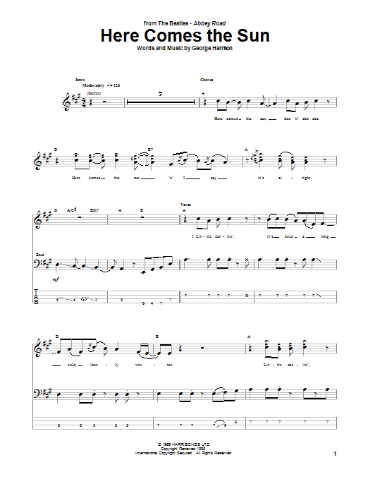 Tablature guitare Here Comes The Sun de The Beatles - Tablature Basse