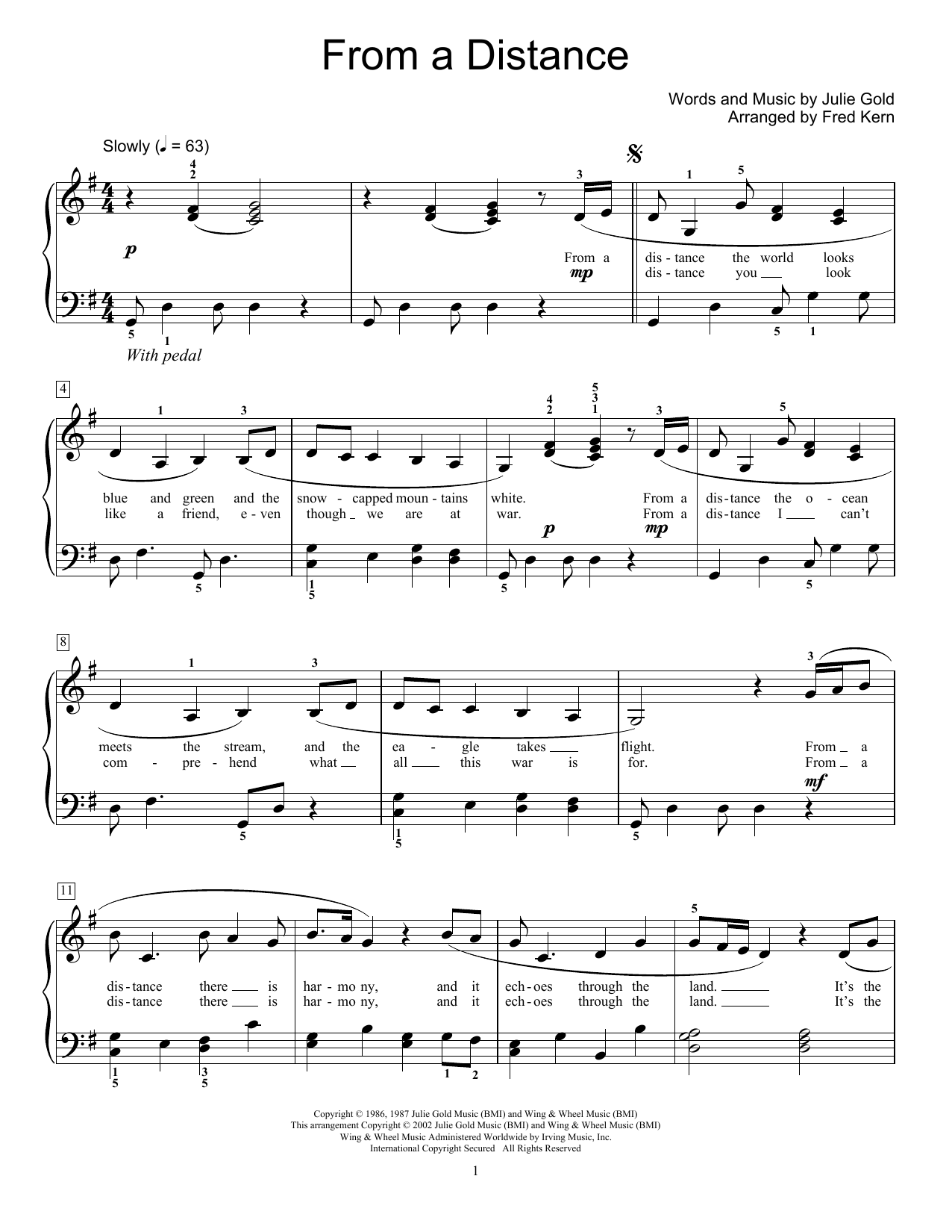 From A Distance (arr. Fred Kern) (Educational Piano)
