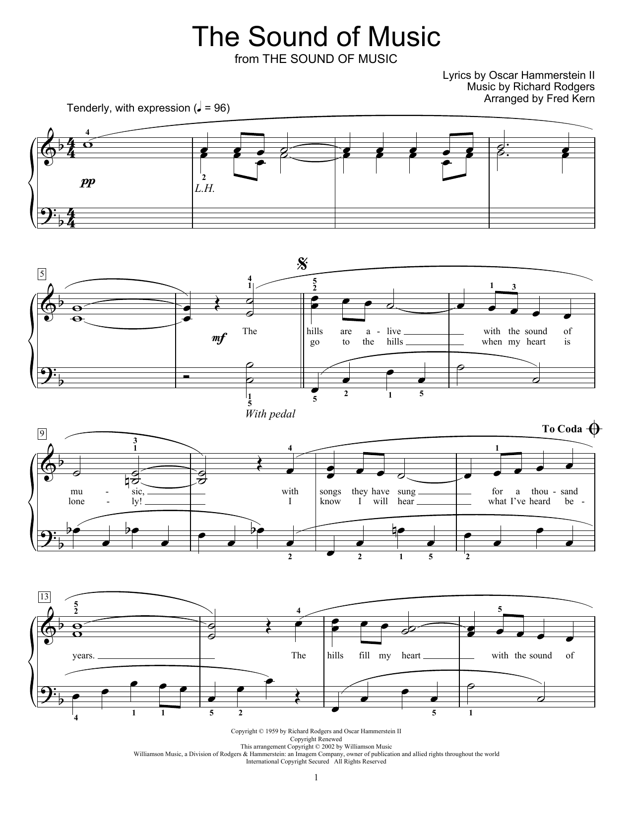 The Sound Of Music (arr. Fred Kern) (Educational Piano)