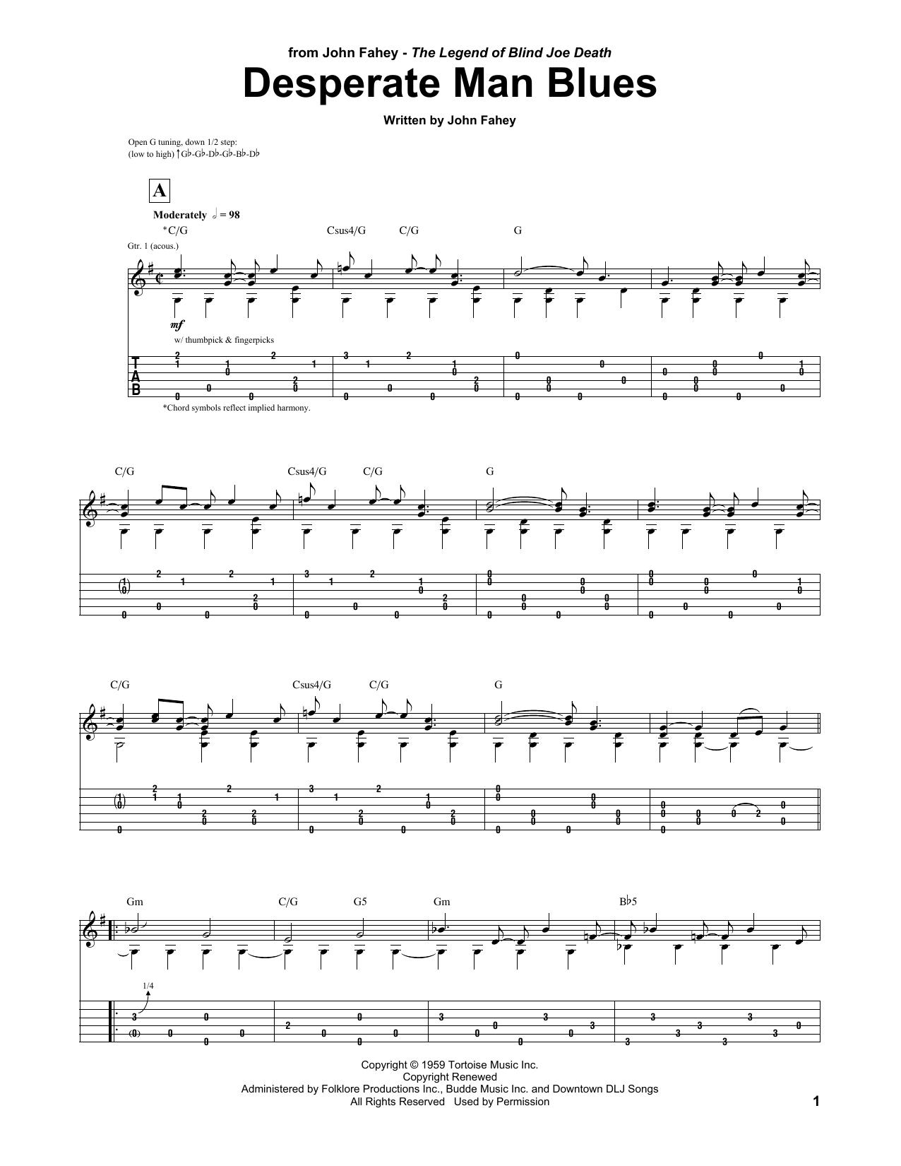 Desperate Man Blues (Guitar Tab) - Print Sheet Music Now