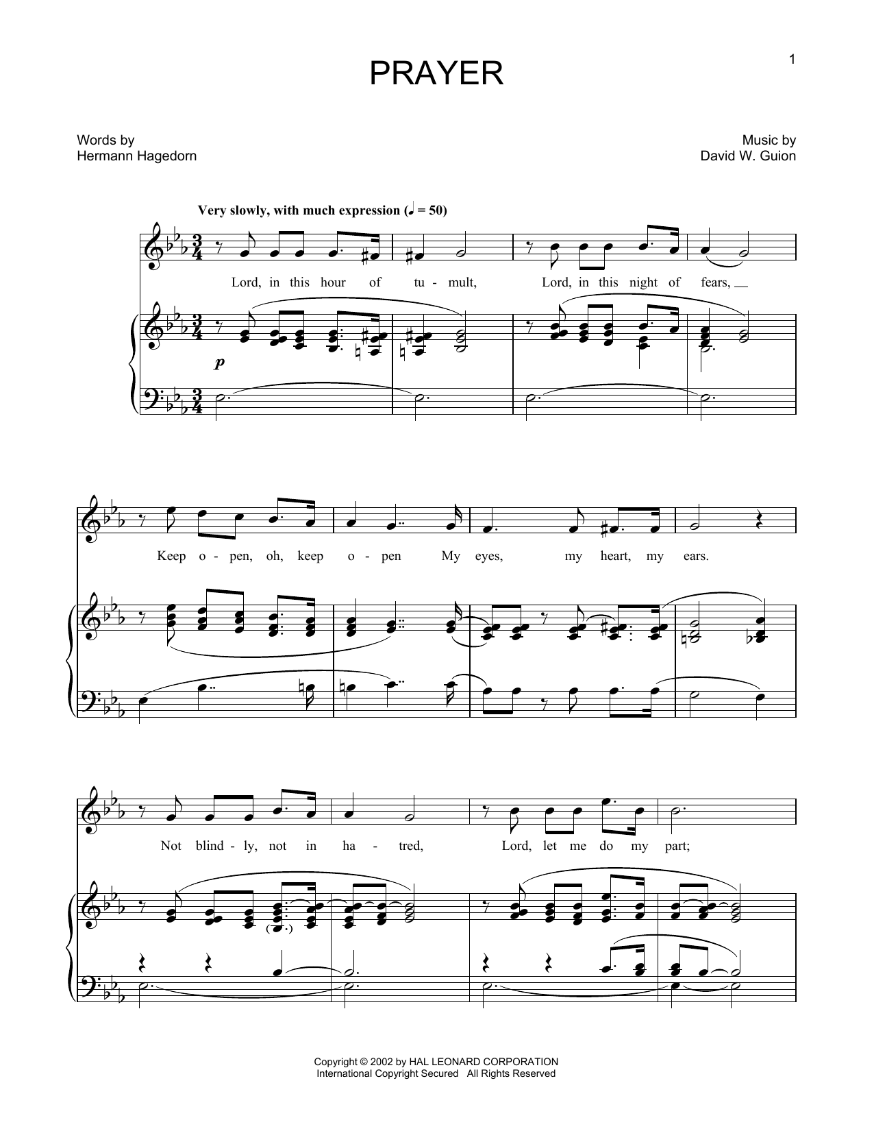 Prayer (arr. Joan Frey Boytim) (Piano & Vocal)