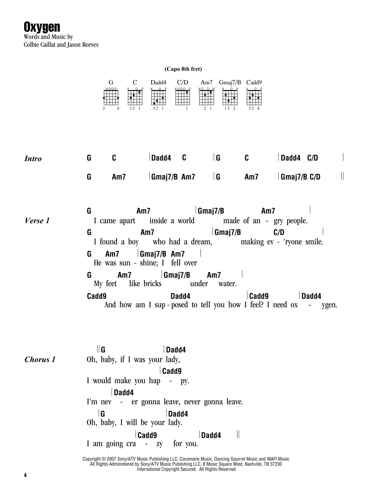 Oxygen sheet music by colbie caillat lyrics chords 163252 colbie caillat oxygen lyrics chords hexwebz Images
