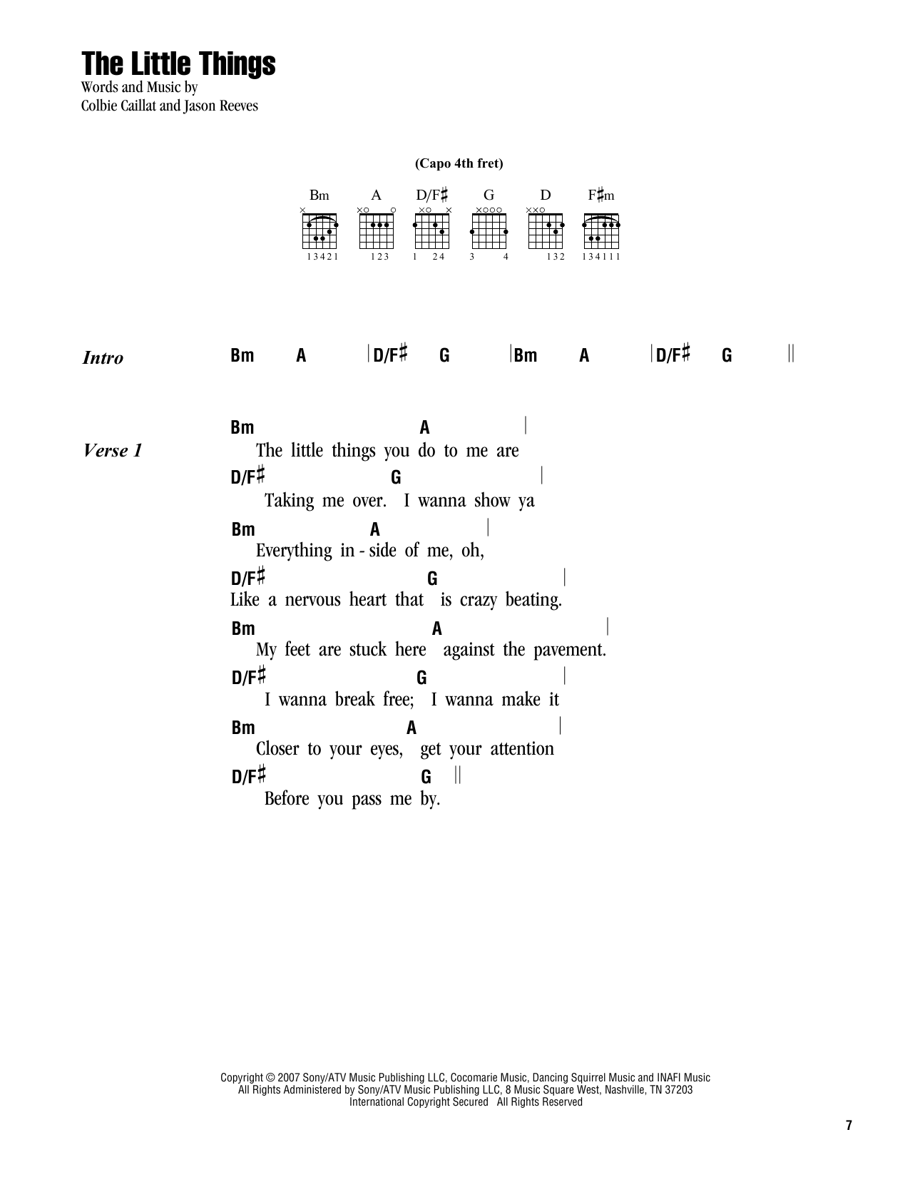 The Little Things Sheet Music