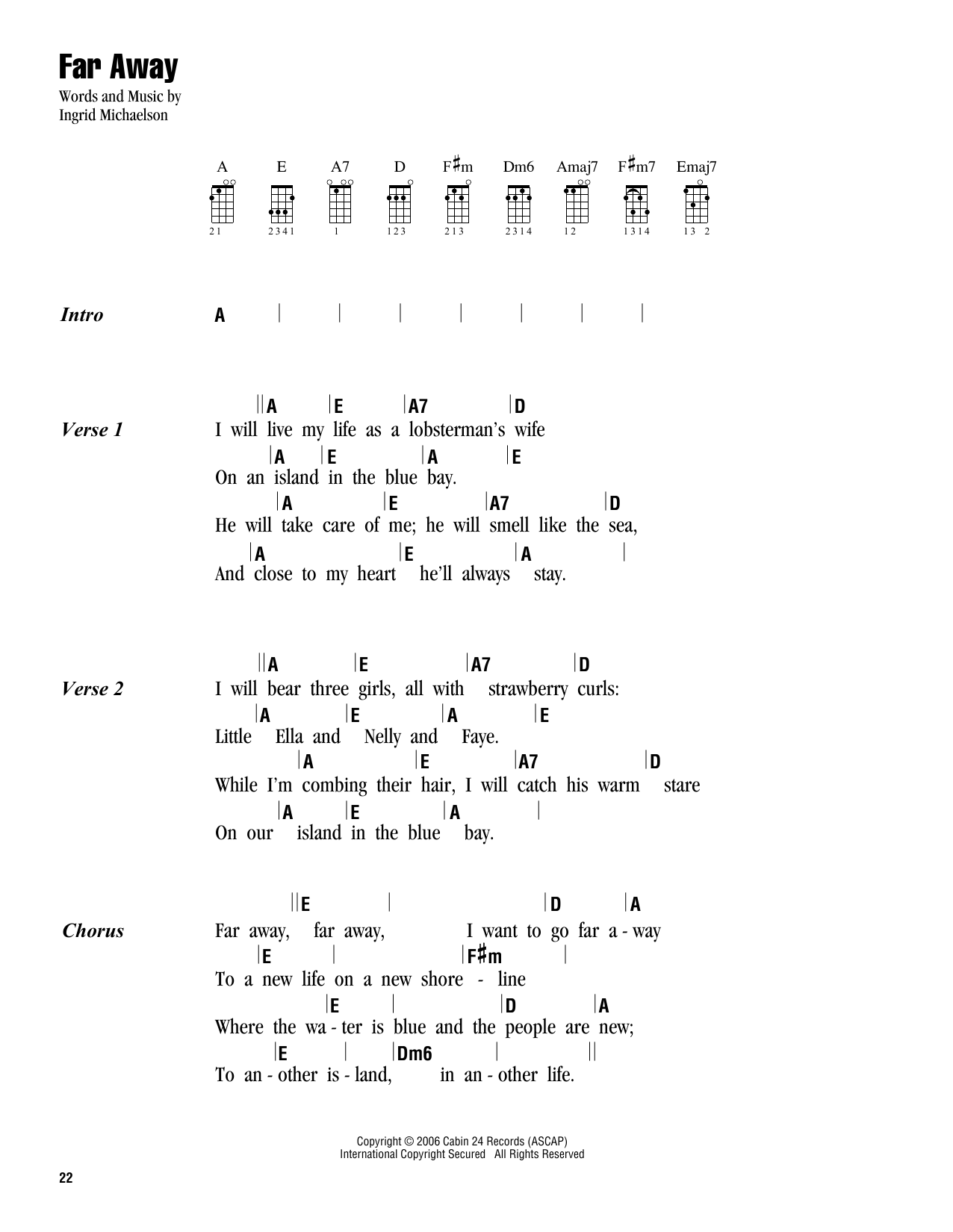Far away sheet music by ingrid michaelson ukulele with strumming far away sheet music hexwebz Images
