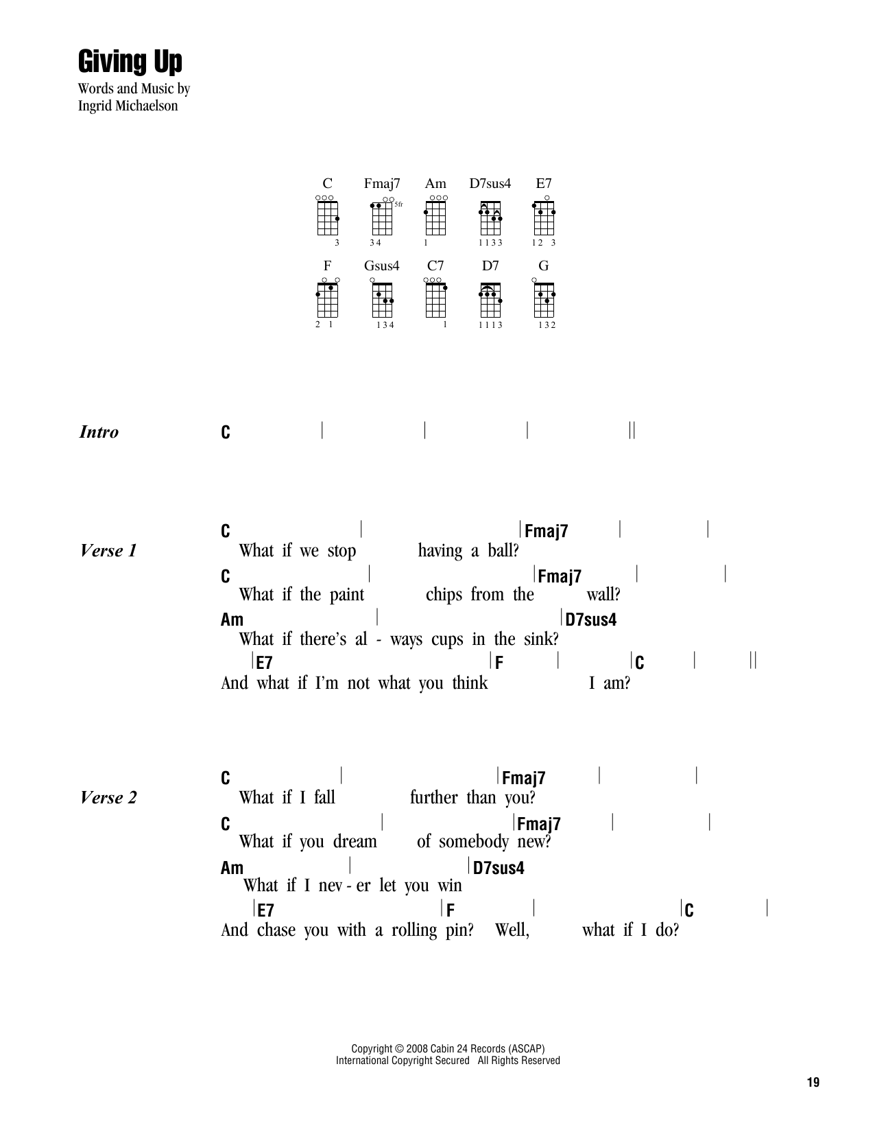 Giving up sheet music by ingrid michaelson ukulele with strumming giving up sheet music hexwebz Images