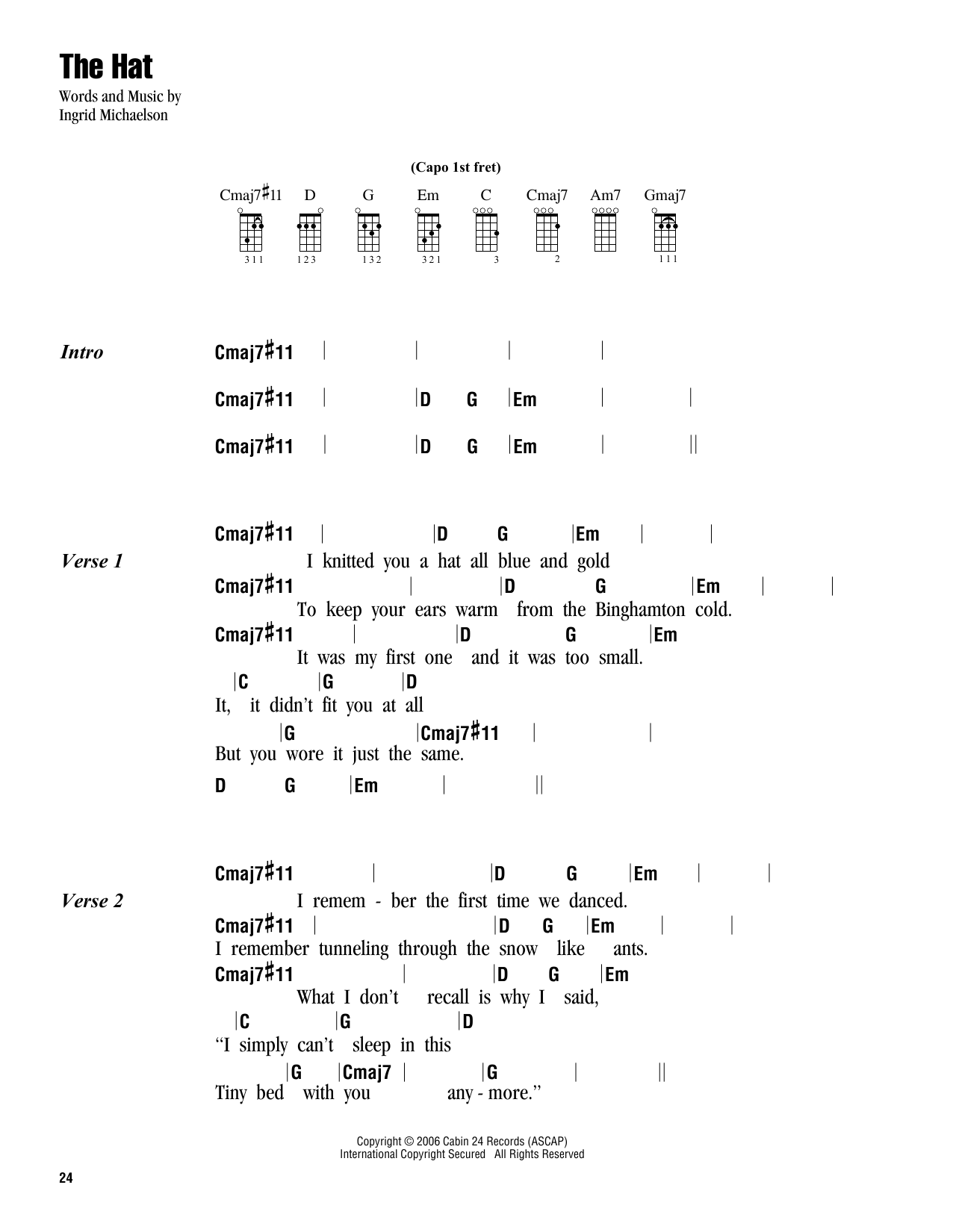 Tablature guitare The Hat de Ingrid Michaelson - Ukulele (strumming patterns)