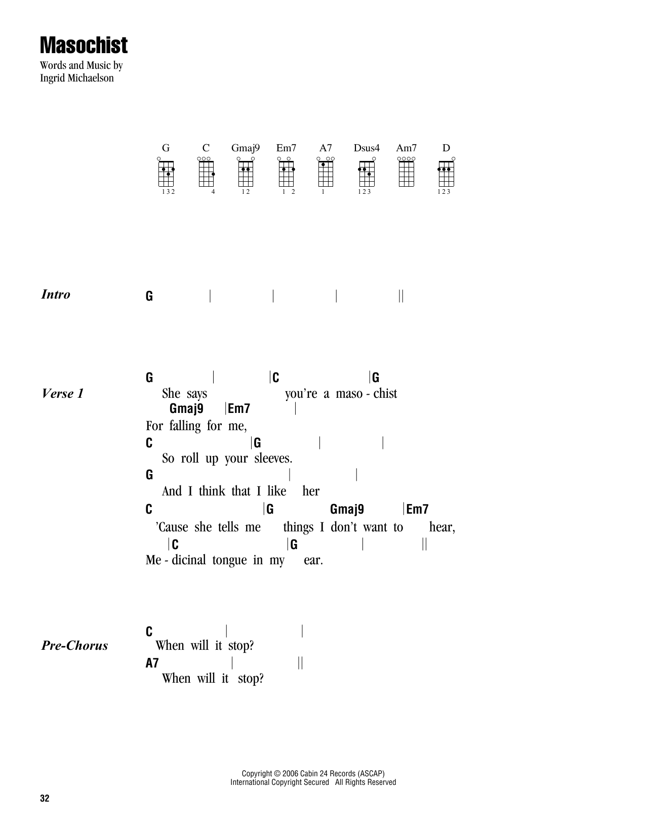 Tablature guitare Masochist de Ingrid Michaelson - Ukulele (strumming patterns)