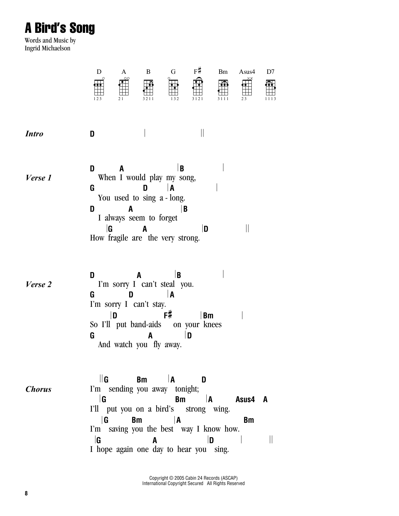 A Birds Song Sheet Music Ingrid Michaelson Ukulele With