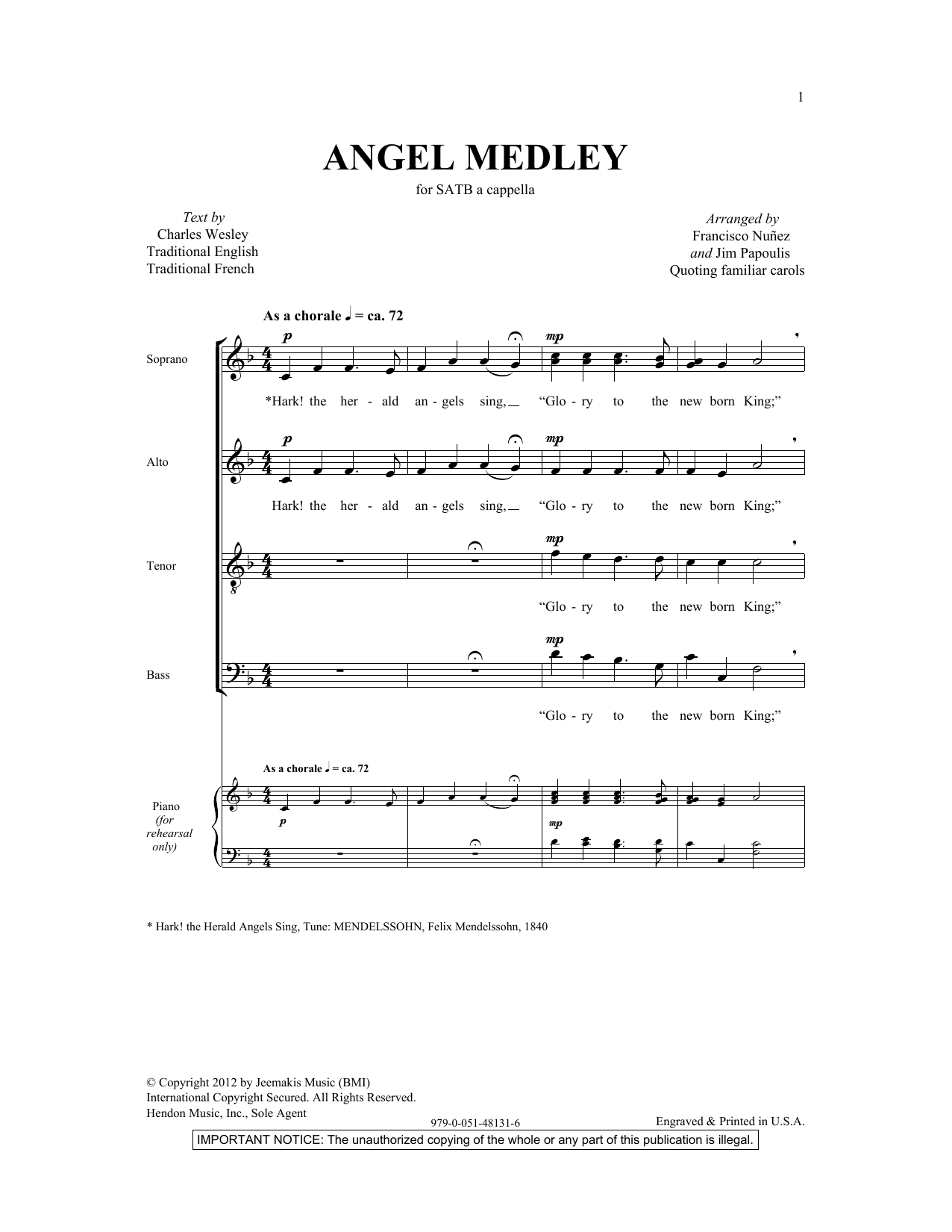Partition chorale Angel Medley (from Coolside of Yuletide) de  - SATB