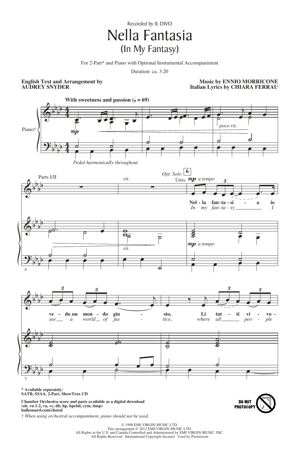 Nella Fantasia (In My Fantasy) (arr. Audrey Snyder) (2-Part Choir)