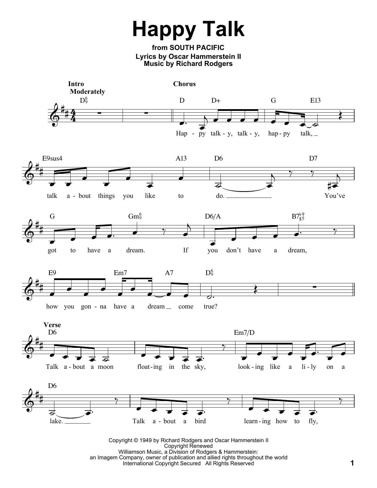 Happy Talk Sheet Music