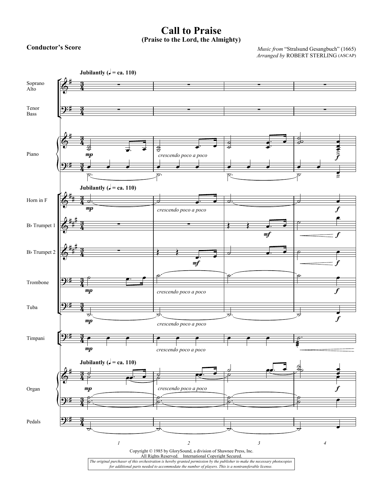 Call To Praise (Praise To The Lord, The Almighty) - Score (Choir Instrumental Pak)