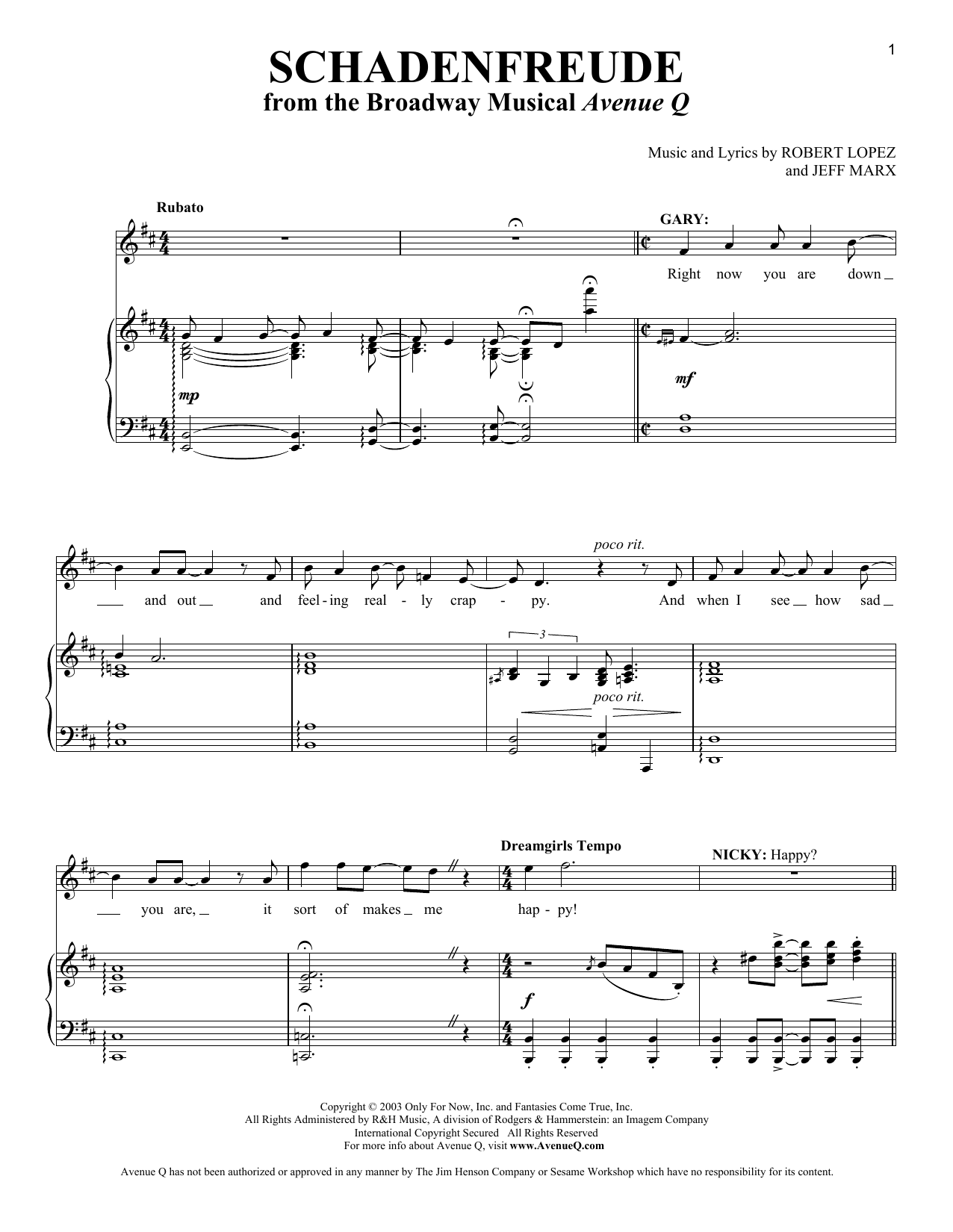 Schadenfreude Sheet Music