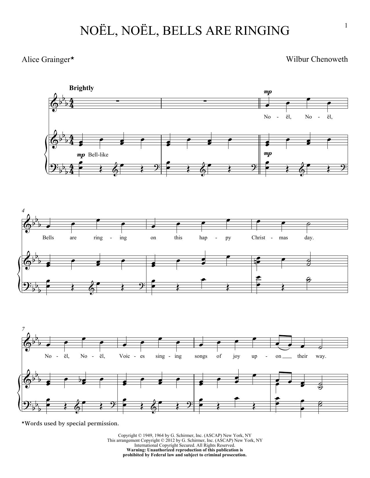 Partition piano Noel, Noel, Bells Are Ringing de Wilbur Chenoweth - Piano Voix