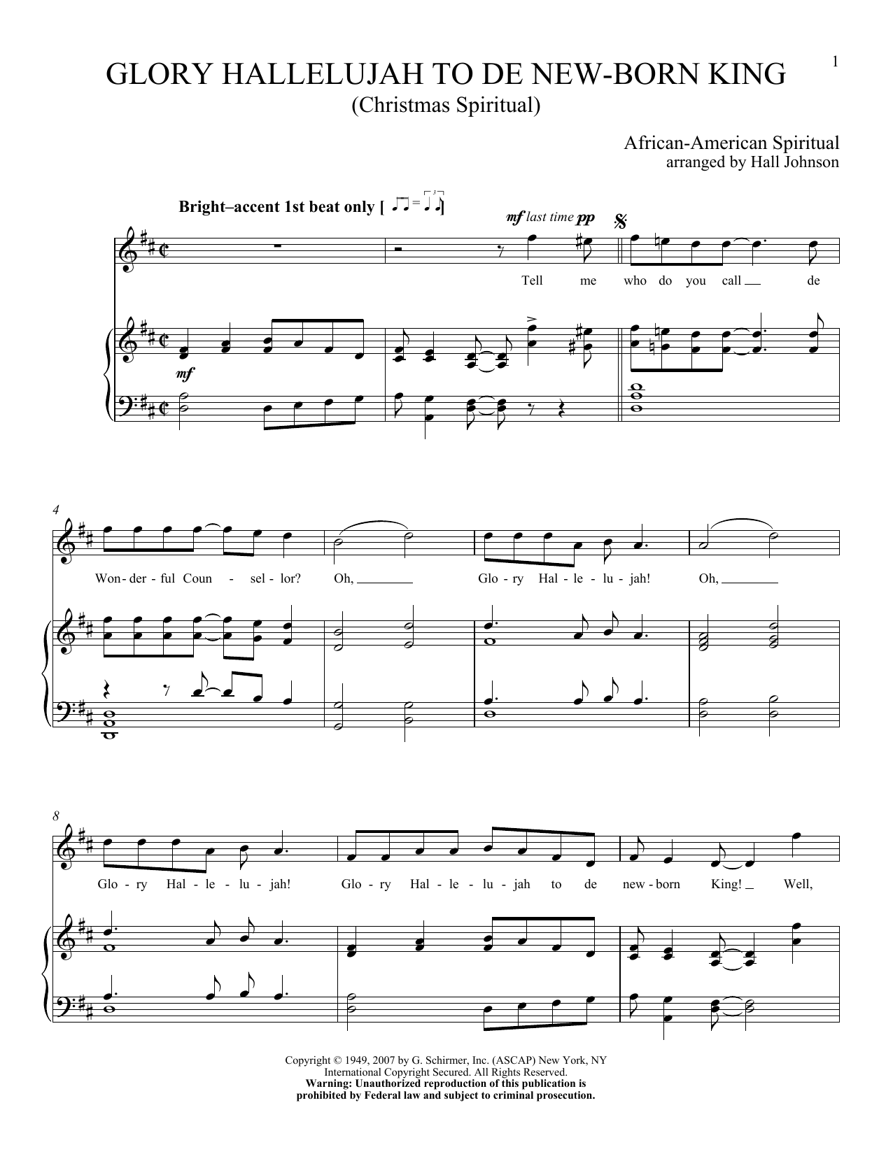 Glory Hallelujah To De New-born King Sheet Music