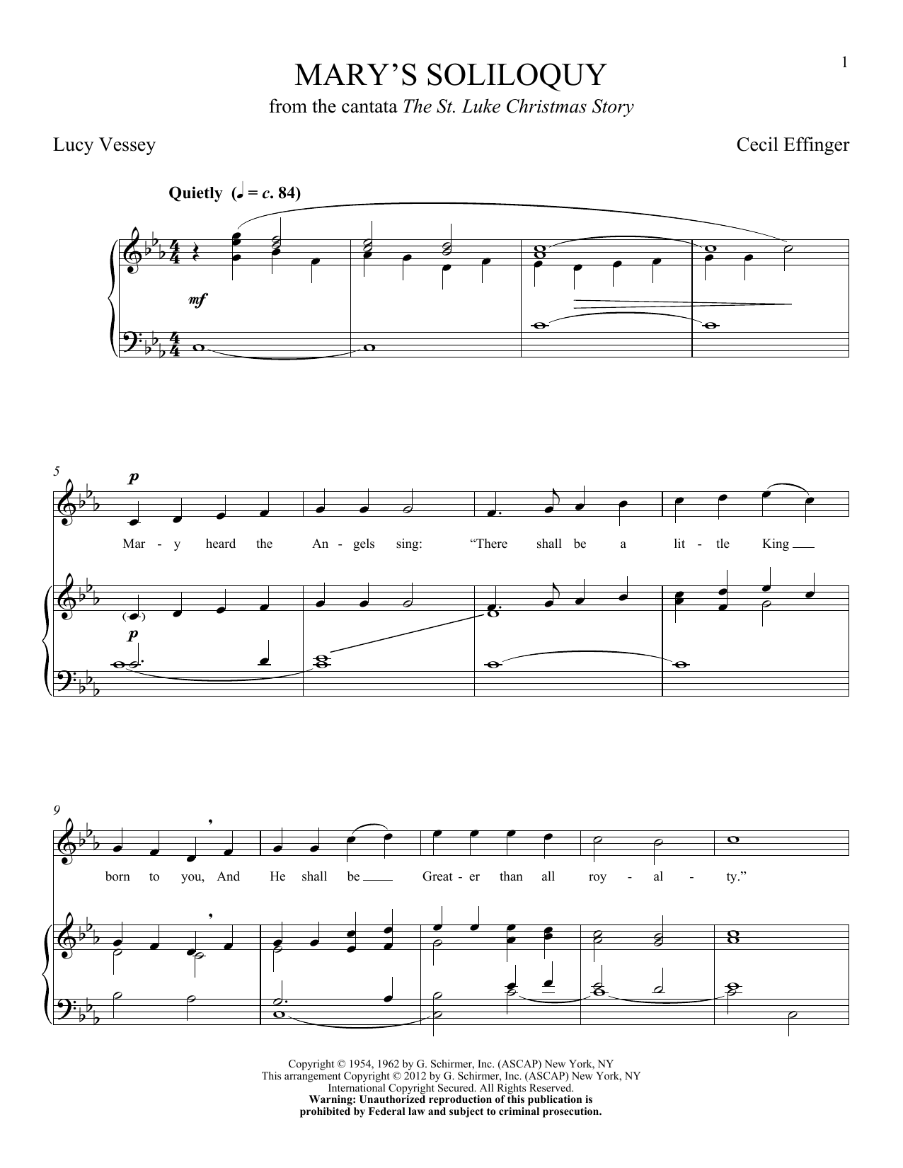 Partition piano Mary's Soliloquy de Cecil Effinger - Piano Voix