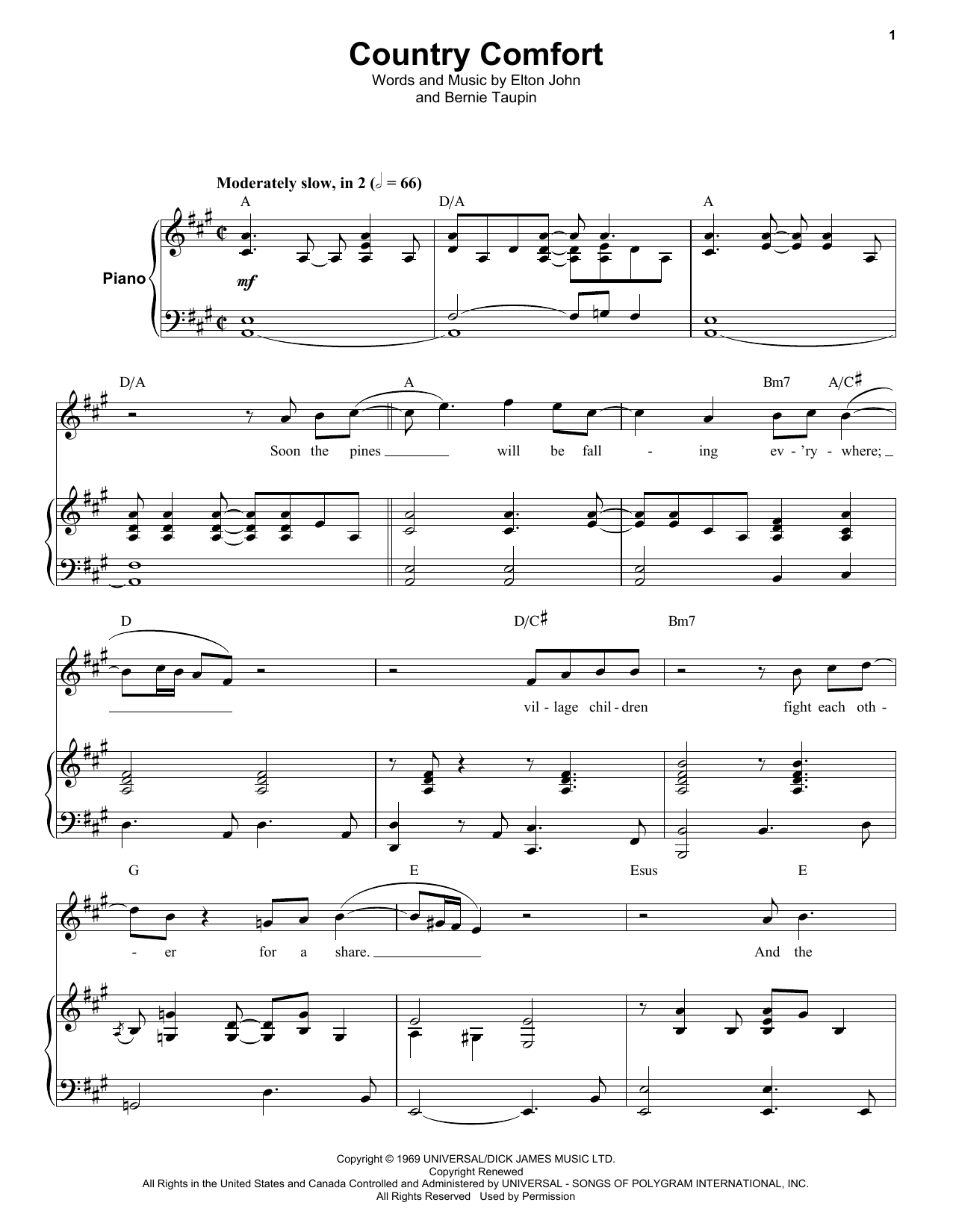 Country Comfort (Keyboard Transcription)