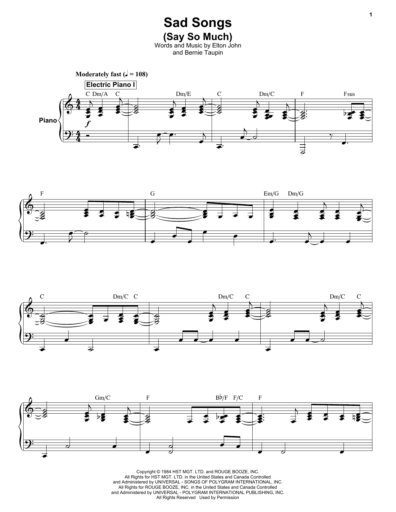 Sad Songs (Say So Much) by Elton John Piano, Vocal & Guitar (Right-Hand  Melody) Digital Sheet Music
