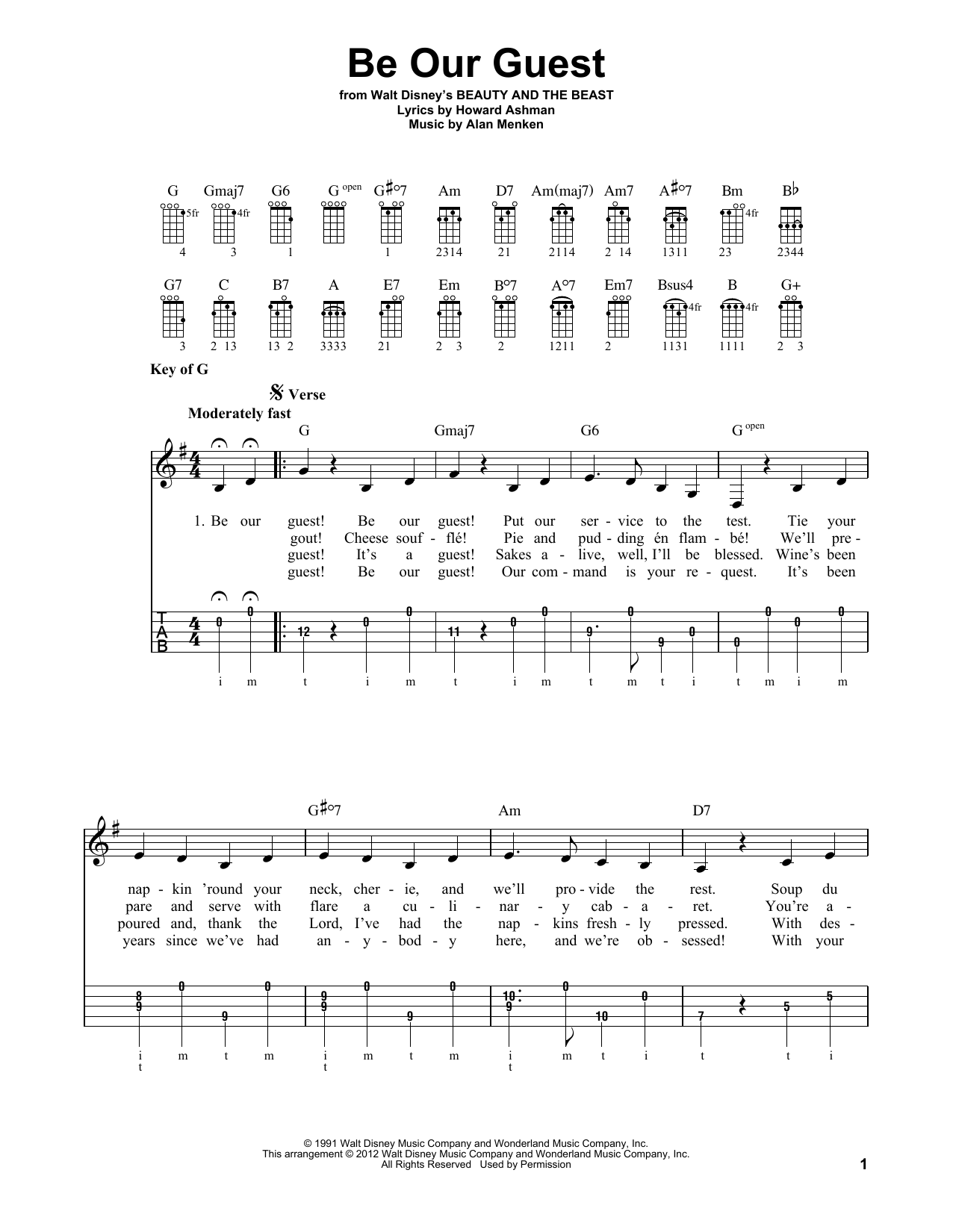 Be Our Guest Sheet Music
