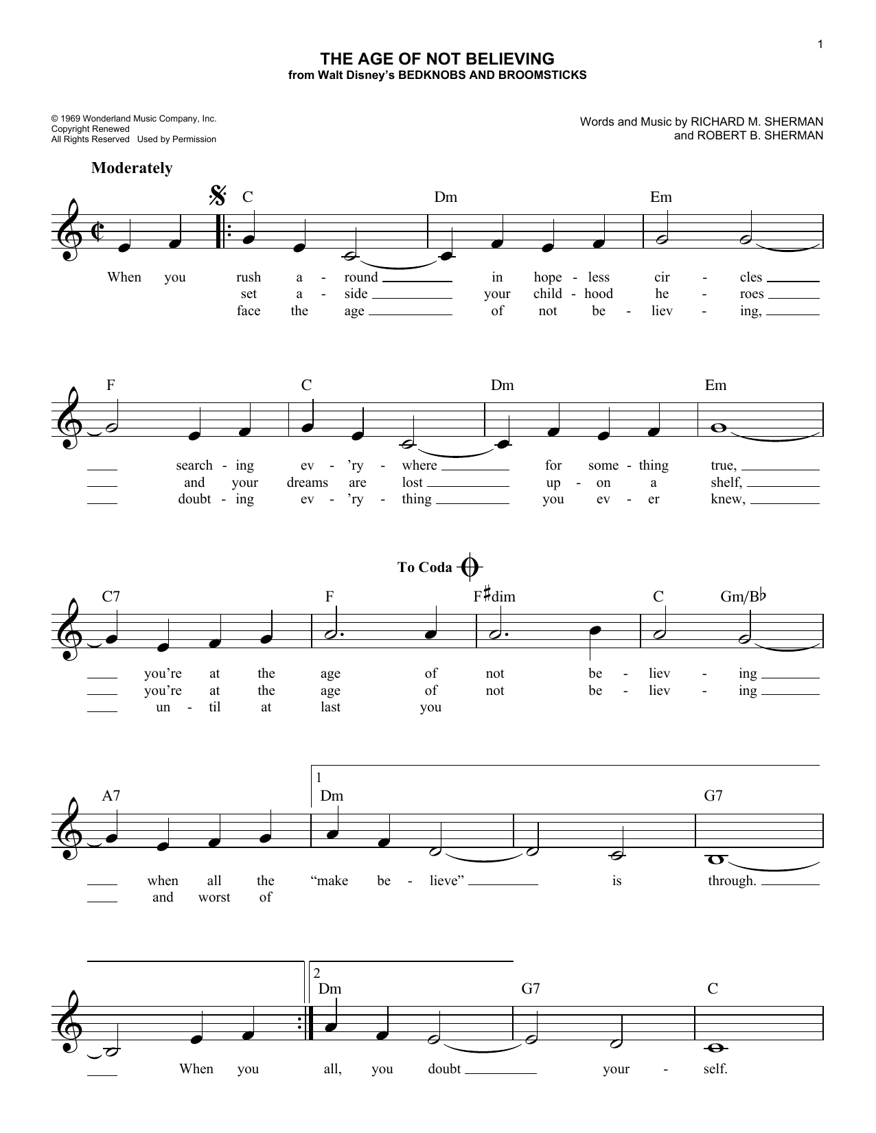 The Age Of Not Believing (Lead Sheet / Fake Book)