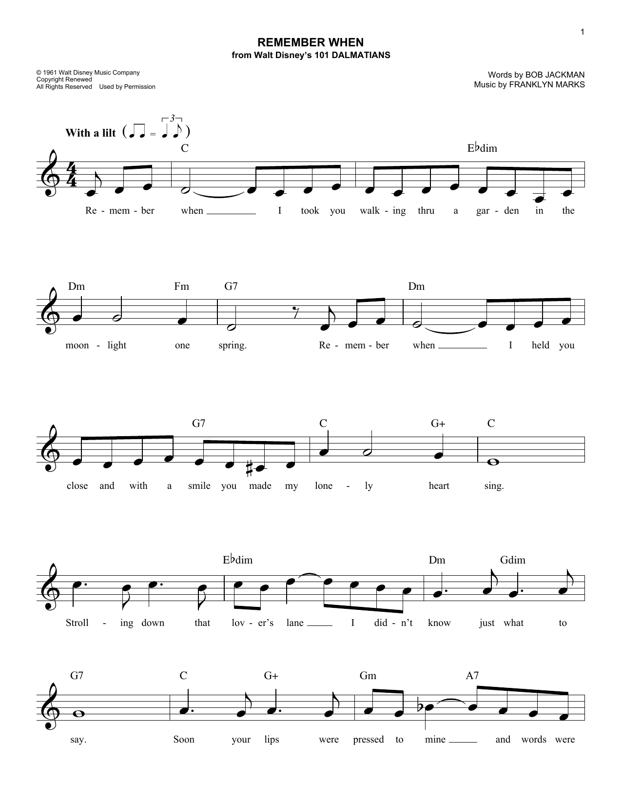 Remember When (Lead Sheet / Fake Book)