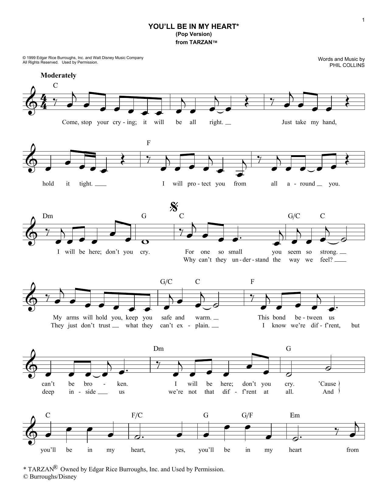 You'll Be In My Heart (Pop Version) (Lead Sheet / Fake Book)