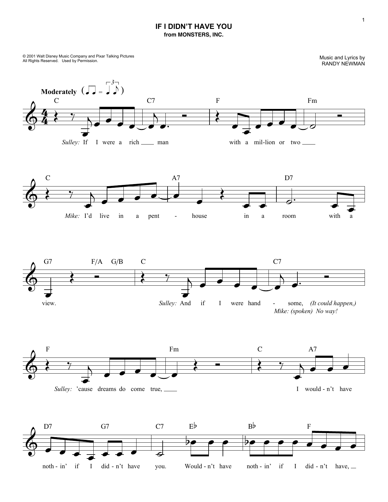 If I Didn't Have You (from Monsters, Inc.) (Lead Sheet / Fake Book)
