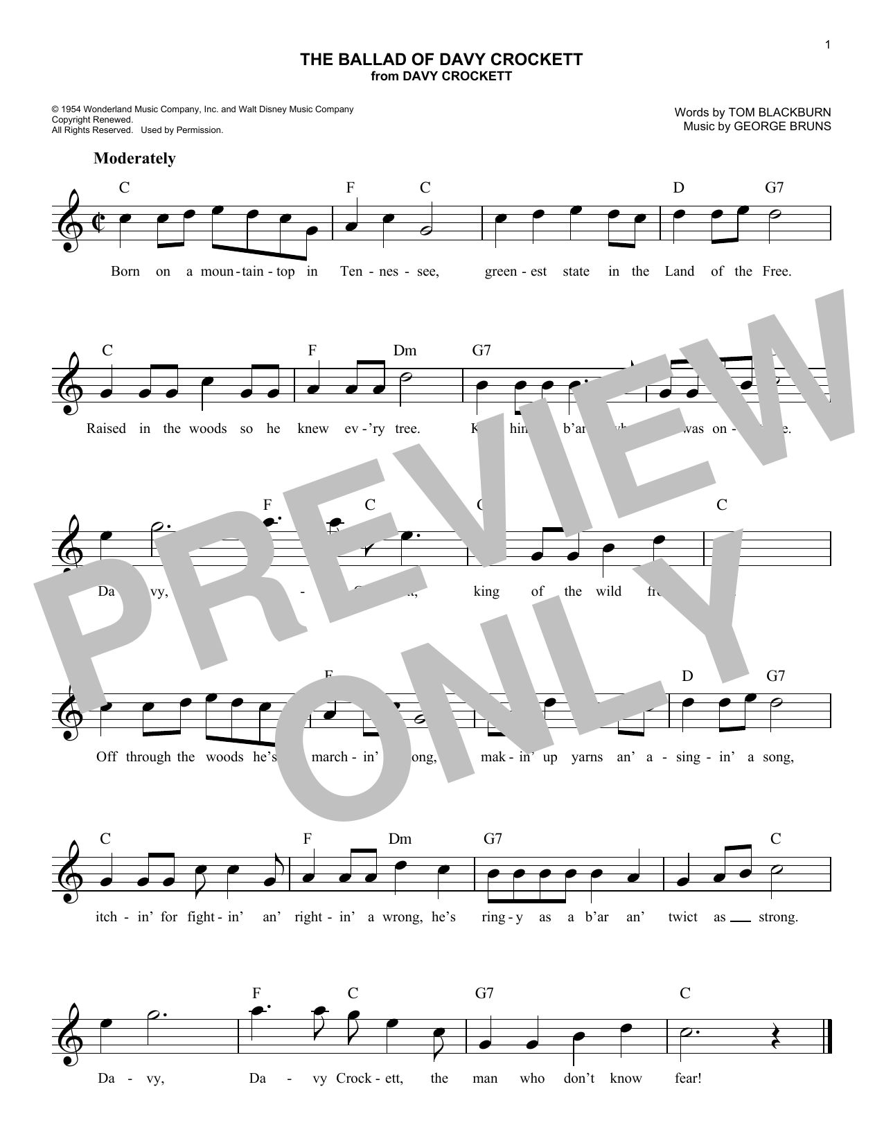 The Ballad Of Davy Crockett (Lead Sheet / Fake Book)