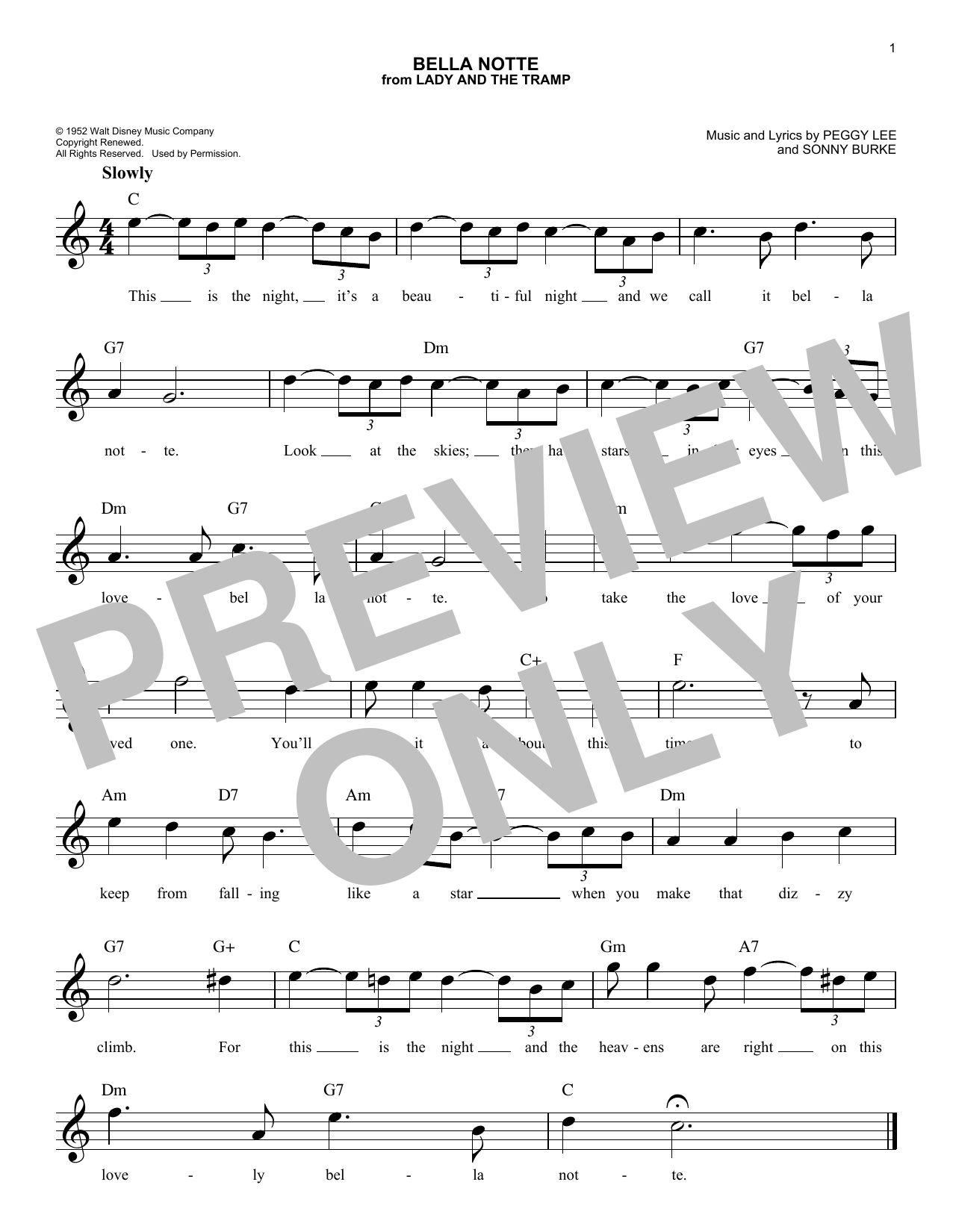 Bella Notte Sheet Music